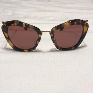 Miu Miu Noir 10NS Tortoise Cat Eye Sunglasses